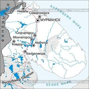 Karte von Murmansk - Vektorgrafik