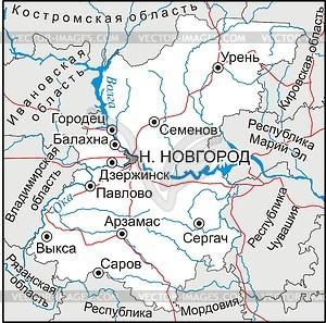 Karte von Oblast Nischni Nowgorod - Vektorgrafik