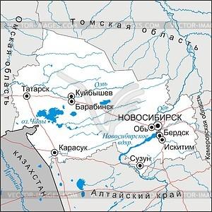 Karte von Oblast Nowosibirsk - Vektorgrafik