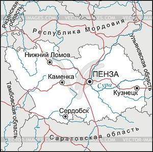 Karte von Penza Oblast - Vektorgrafik