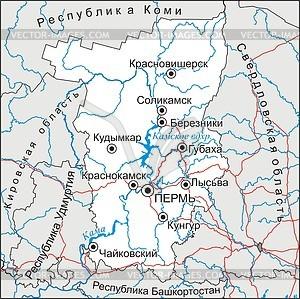 Karte von Krai Perm - Vektorgrafik