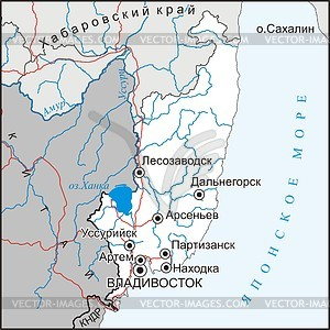 Karte von Krai Primorje - Vektorgrafik