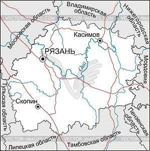 Karte von Oblast Rjasan - Vektorgrafik