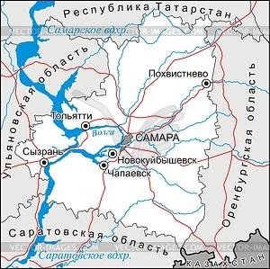 Karte von Samara Oblast - Vektorgrafik