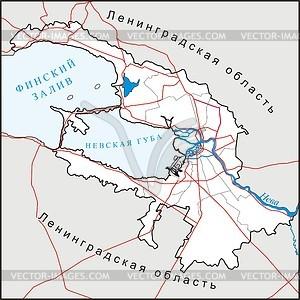 Karte von St. Petersburg - Vektorgrafik