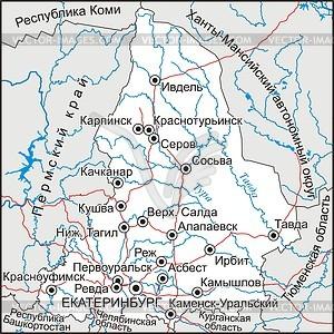 Karte von Oblast Swerdlowsk - Vektorgrafik