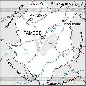 Karte des Oblasts Tambow - Vektorgrafik