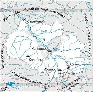 Karte von Oblast Tomsk - Vektor-Klipart