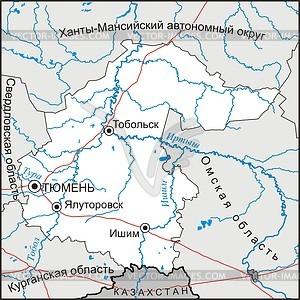 Karte von Oblast Tyumen - Vektorgrafik