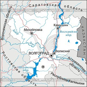 Karte von Oblast Wolgograd - Vektorgrafik