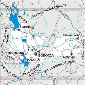 Karte von Oblast Vologda - Vektorgrafik