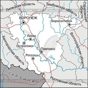 Karte von Oblast Woronesch - Vektorgrafik