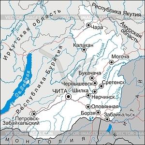 Landkarte von Krai Transbaikalien - Vektorgrafik