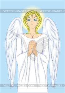 Junges schöne Engel Mädchen betet - Vektorgrafik