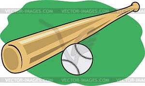 Baseballschläger und Ball - Vektorgrafik