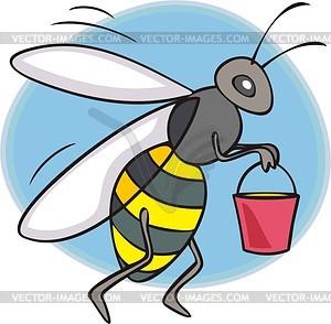 Biene hält einen Eimer mit Honig - Vektorgrafik