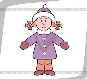 Mädchen in Winterkleidung - Vektorgrafik