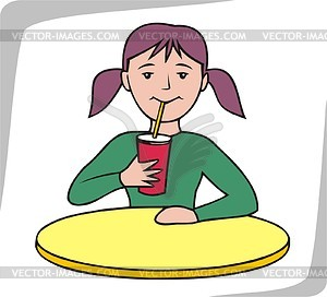 Mädchen trinkt Saft - Vektorgrafik