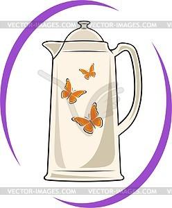 Teekessel mit Schmetterlingen - Vektorgrafik