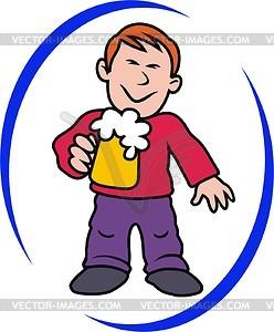 Mann mit Bier - Vektorgrafik