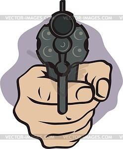 Hand mit dem Revolver - Vektorgrafik
