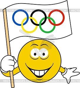 Smilie mit der olympischen Flagge - Vektorgrafik