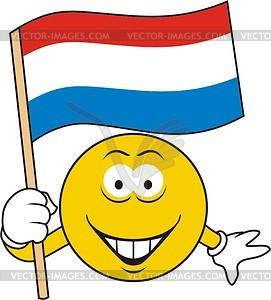 Smiley mit niederländischer Flagge - Vektorgrafik
