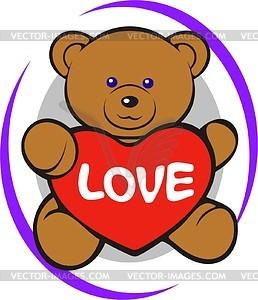 Teddy Bear Spielzeug mit Herz - Vektorgrafik