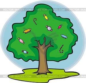 Дерево с конфетами - векторный клипарт