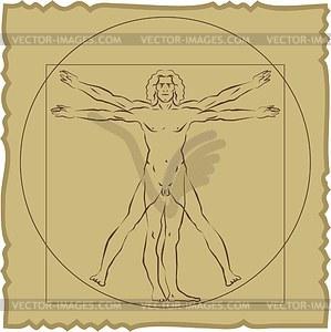 Vitruvianischer Mensch von Leonardo da Vinci - Vektorgrafik