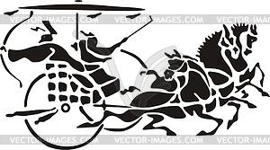 Chinesische mythische Dekorationen mit Wagen - Vektorgrafik