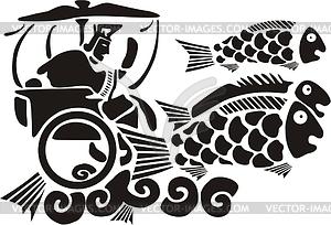 Chinesische Wasser Gottheit - Vektorgrafik