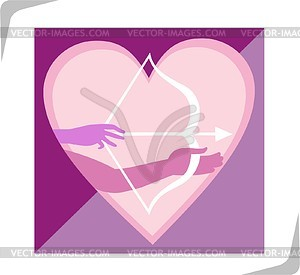 Herz, Pfeil und Bogen - Vektorgrafik