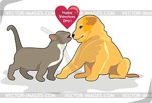 Hund und Katze - Vektorgrafik