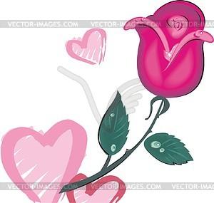 Frische rote Rose und Herzen - Vektorgrafik