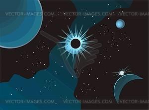 Weltraum Landschaft mit Stern - Vektorgrafik