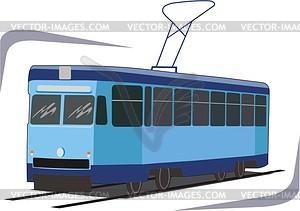 Straßenbahn - farbige Vektorgrafik