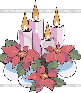 Weihnachten Kerzen mit Blumen - Vektorgrafik