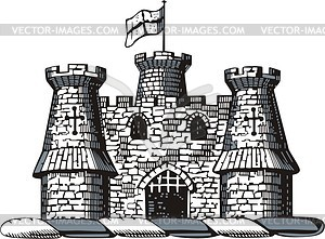 Burg - schwarzweiße Vektorgrafik