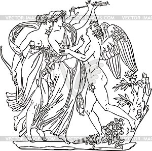 Gravur mit Musen und Amor - Vektorgrafik
