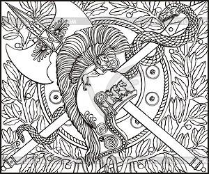 Gravur mit Helm, Schlange und überquerte Hecht und Axt - Vektorgrafik