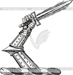 Hand mit Schwert - Royalty-Free Vektor-Clipart
