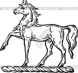 Pferd - schwarzweiße Vektorgrafik