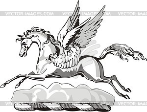 Geflügeltes Pferd Helmkleinod - Vektorgrafik
