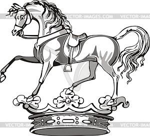 Pferd Helmzier - schwarzweiße Vektorgrafik