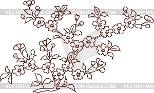 Japanisches Blumendesign - Vector-Clipart / Vektor-Bild