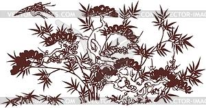 Japanisches Blumendesign - Vektor-Klipart