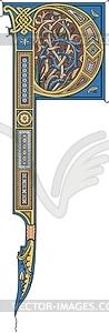 Keltisches Großbuchstaben P - Vektorgrafik