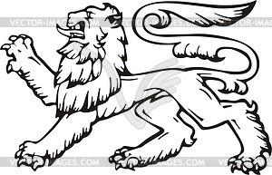 Heraldischer Löwe - schwarzweiße Vektorgrafik