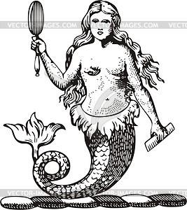 Meerjungfrau mit einem Spiegel - Vektorgrafik